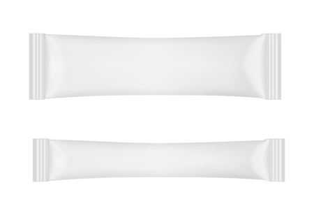 White disposable packaging for snacks, food, sugar and spices.