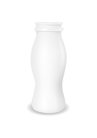 White empty plastic bottle for yogurt.