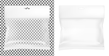 Transparent empty plastic packaging. Blank sachet with hang slot.