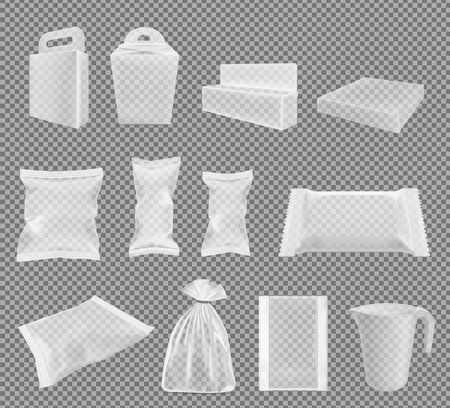 Transparent packaging for snacks, food, chips, sugar and spices. Big vector set.