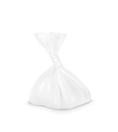 pouch: White plastic bag. Packaging for bread, coffee, sweets, cookies and gift. Illustration