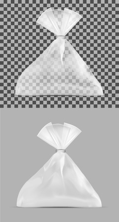 Transparent plastic bag. Packaging for bread, coffee, sweets, cookies and gift. Illustration