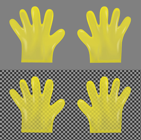 pouch: Disposable yellow transparent plastic gloves. Illustration