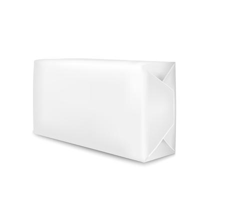 Imballaggio del Libro Bianco isolato su fondo bianco. Bustina per sapone, caffè, spezie, dolci, biscotti e farina.