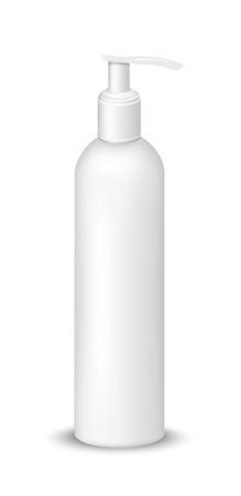 White plastic bottle with pump dispenser.