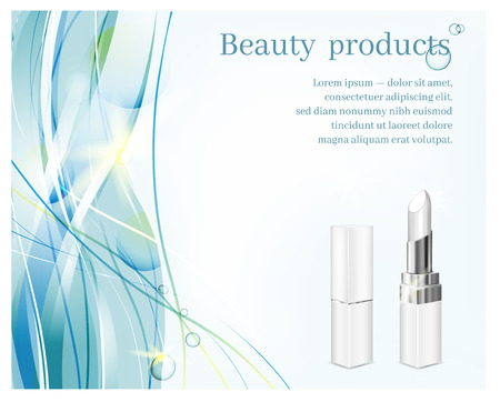 White tubes with white lipstick on blue waves background. Cosmetic illustration for advertising. Vectores