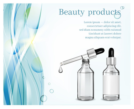 Glass cosmetic bottle with dropper on blue waves background. Cosmetic illustration for advertising.