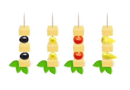 Appetizers on toothpick. Vegetarian canapes on skewers. Illustration