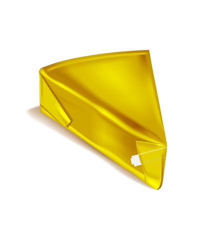 Golden soft foil wrapped cheese. Ilustração