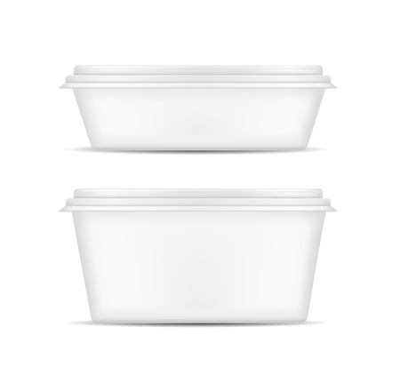 White packaging with lid for food.