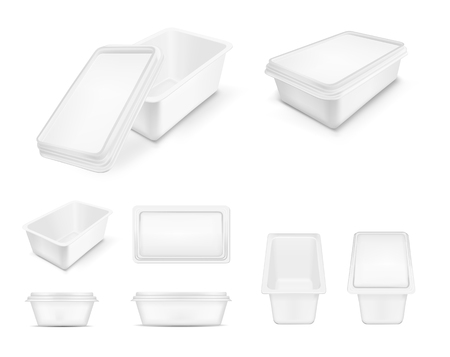 White packaging with lid for food in Big set.