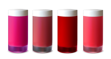 Blank red plastic packaging for lotion, lipstick and cream.