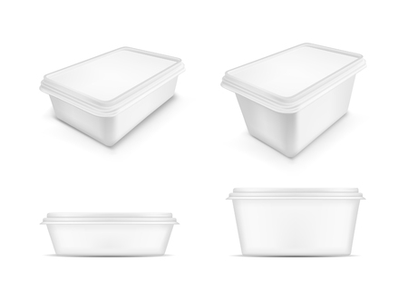 White packaging with lid for food. Vector illustration. Ilustracja