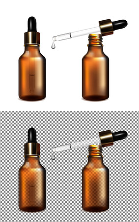 Sets of brown glass transparent bottle with gold cap and dropper illustration.