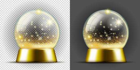 Realistic gold transarent snow ball.