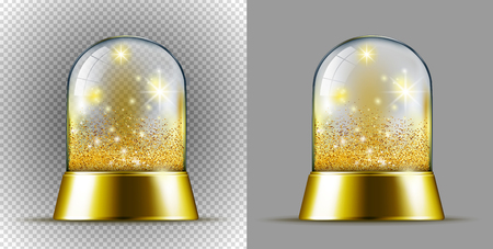 Realistic transarent gold snow ball.