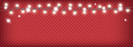 Christmas garland on red transparent background.  イラスト・ベクター素材