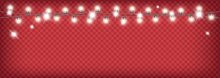 Christmas garland on red transparent background. 矢量图像