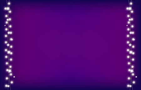 Christmas garland on purple background.