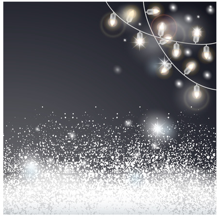 Christmas card with snow and electric garland.