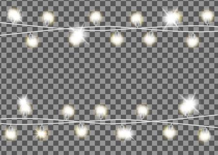 Christmas garland on transparent background. Vettoriali