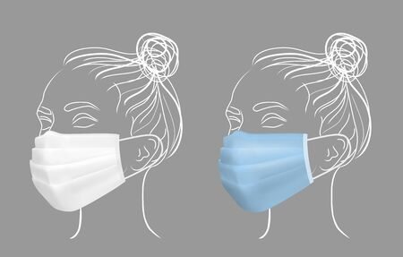 Girl in protective medical face mask. Line drawing women face.