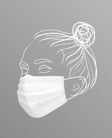 Girl in protective medical face mask. Line drawing women face