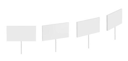 White vector banner on stick