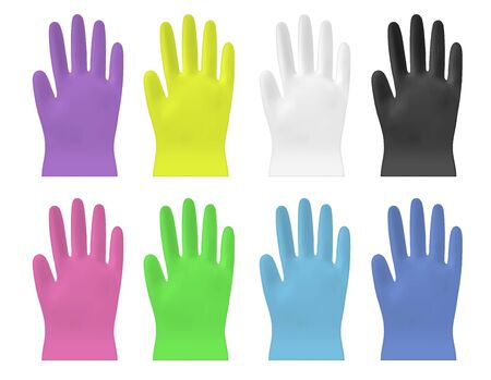 Disposable  color vector plastic or nitrile gloves