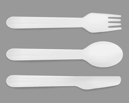 Disposable white plastic cutlery. Vector spoon, knife and fork.