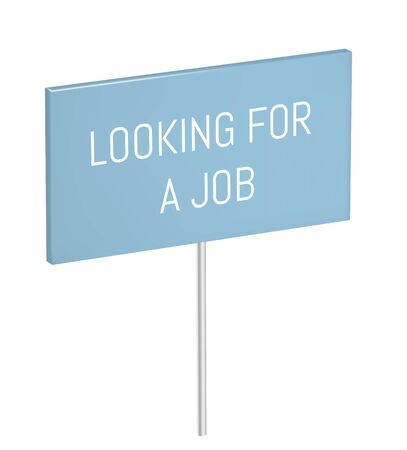 Blue vector banner on stick. Looking for a job poster