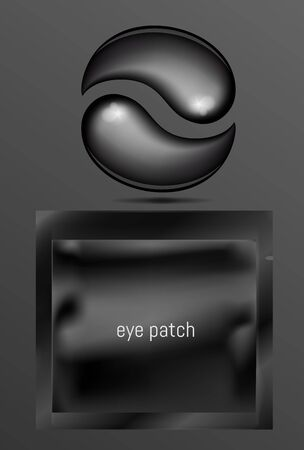 Black foil or plastic sachet for cosmetic and eye gel patches  イラスト・ベクター素材