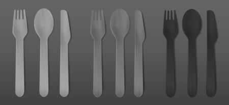 Disposable black cutlery. Vector fork, spoon and knife