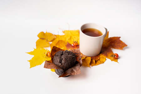 Concept of autumn home comfort on a white background, copyspace. A mug of tea and a chocolate muffin stand on yellow and red leaves Zdjęcie Seryjne