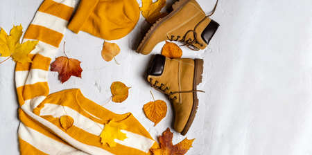 Autumn concept, modern bright banner. Women's sweaters and boots in the middle of autumn maple leaves on a white background Banque d'images