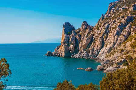 Beautiful panorama of the coastal landscape in the Crimea. Black sea 版權商用圖片