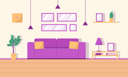 Living room interior in cozy purple design. Bright vector illustration in flat style Ilustracja