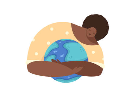 World ozone day concept, african american woman hugging the globe. Planet protection illustration isolated on white background Vettoriali