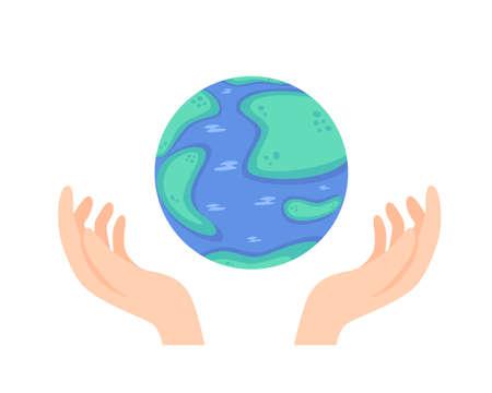 World Ozone Day. Vector illustration of globe and hands isolated on white background Vektoros illusztráció