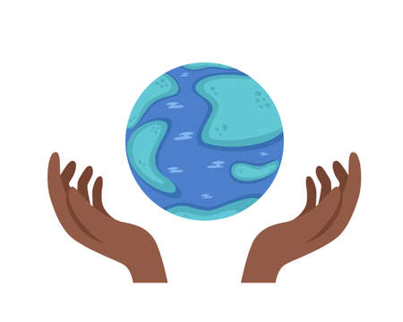 World Ozone Day. Vector illustration of globe and african american hands isolated on white background