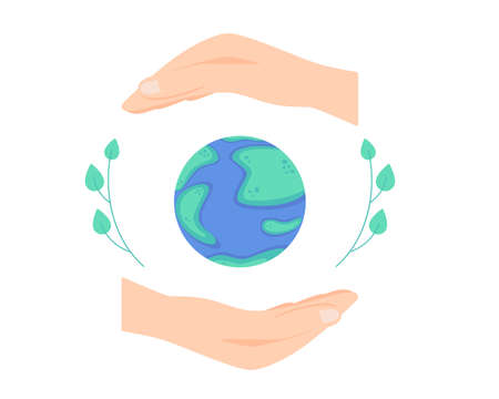 International Day for the Preservation of the Ozone Layer, vector illustration of globe and hands with leaves around isolated on white background
