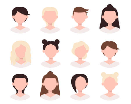 Icons set of different women hairstyle. Collection of female avatars with beautiful various hairdo. Vector illustration in flat style isolated on white background