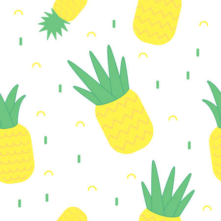 Seamless pattern of bright yellow pineapples on white background.