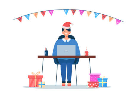Woman sitting with laptop in Christmas hat. Lots of gift boxes. Christmas office party concept. Cartoon vector illustration isolated on white background with Happy holidays text on flags banner 向量圖像