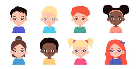 Set of diverse multiethnic children avatars. Happy faces of different boys and girls. Cartoon kids portraits. Vector illustration isolated on white background Vecteurs