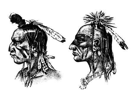 Native American Indian man with headdress and feathers. North or west head mascot of Sioux traditional culture, half-face, engraved hand drawn realistic in old sketch, vintage style.