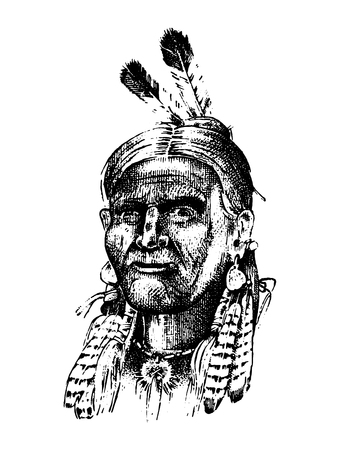 Native American Indian man with headdress and feathers. North or west head mascot of Sioux. traditional culture. half-face, engraved hand drawn realistic in old sketch, vintage style.