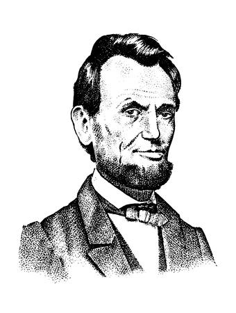 Abraham Lincoln Porträt, 16. USA Präsident. Herr gravierte die Hand, die in alte Weinleseskizze realistisch gezeichnet wurde. Standard-Bild - 93481392