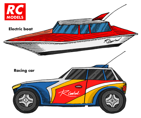 RC transport, remote control models. toys design elements for emblems. boat or ship and car or machine. revival radios tuner broadcasting system. Innovative technologies. engraved hand drawn