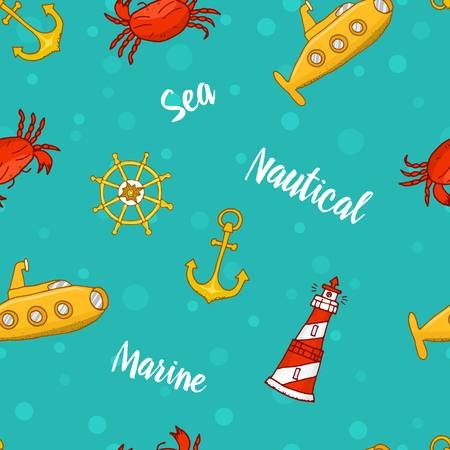 Seamless pattern with cute sea life. ocean and blue sea. nature, wildlife. engraved hand drawn. mammal marine. anchor and ship, lighthouse and submarine and steering wheel. Illustration